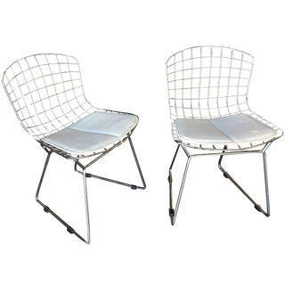 Chrome Children's Bertoia Side Chair With White Seat Cushion by Knoll, Pair