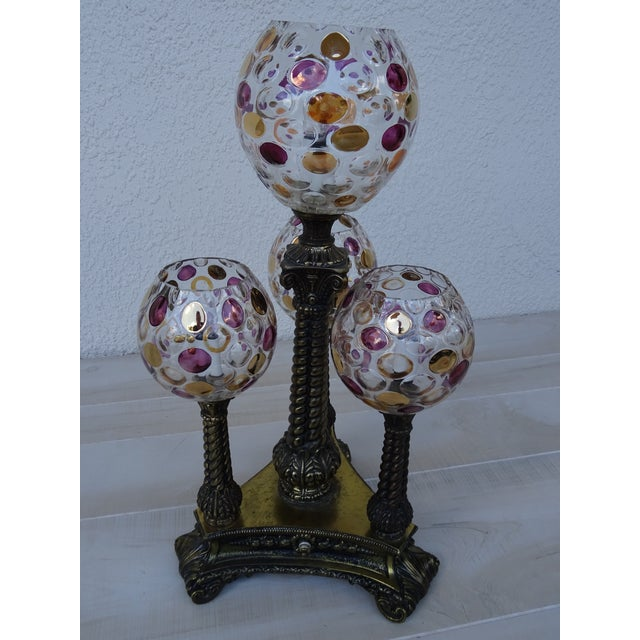 Mid-Century Modern Vintage L&l Wmc Pink and Gold Four Glass Globe Lamp Mid-Century Modern For Sale - Image 3 of 11