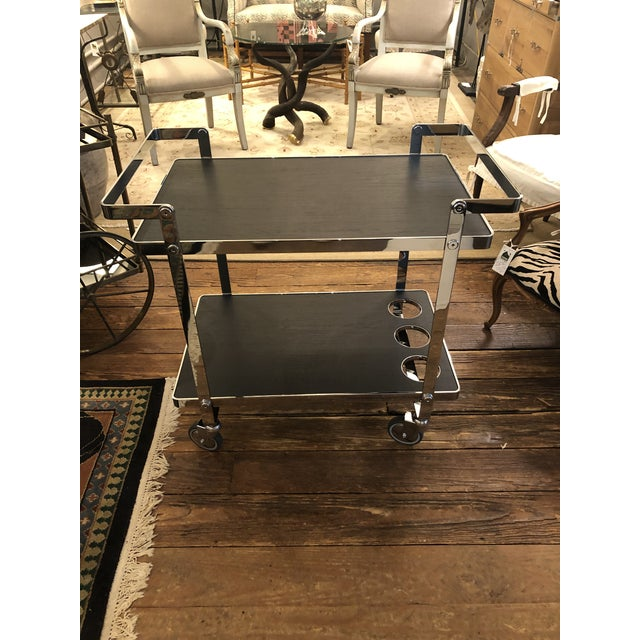 Chrome and Black Wooden Laminate Bar Cart For Sale - Image 10 of 10