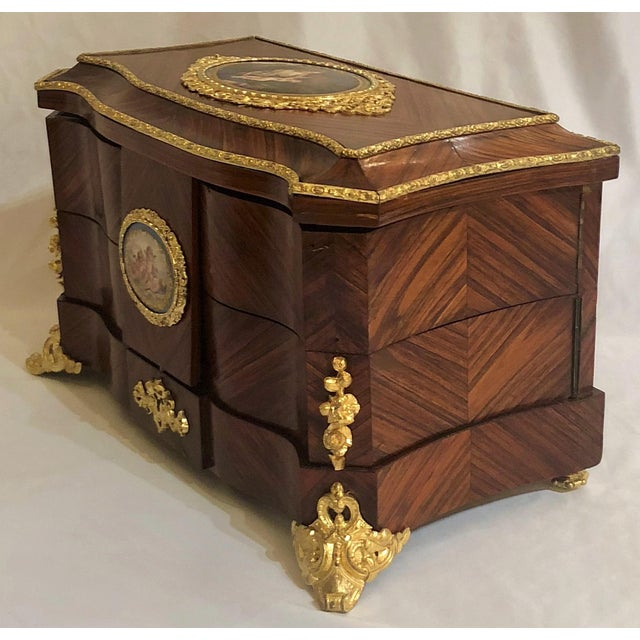 Metal Museum Quality Antique French Napoleon III Sevres Mounted Kingswood and Ormolu Traveling Box Made by Ebeniste, Alphonse Giroux. For Sale - Image 7 of 8