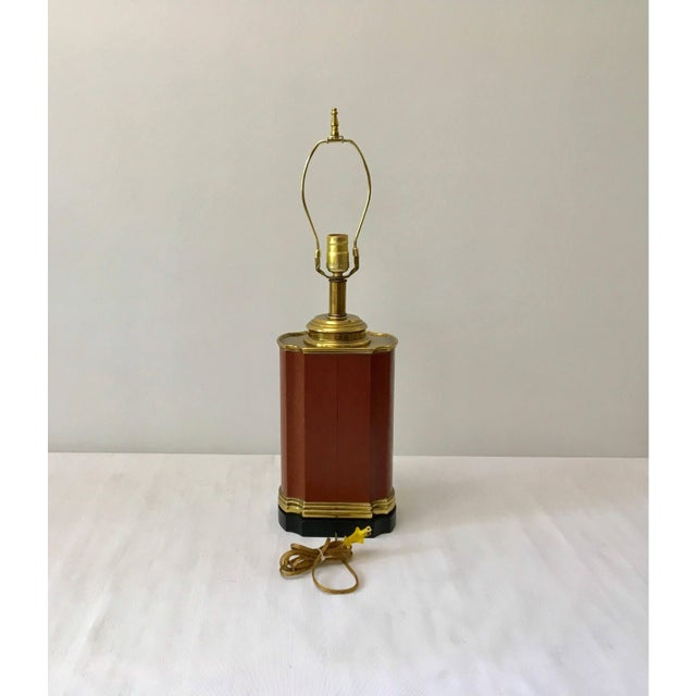Mid-Century Modern Vintage Brass and Brown Leather Tea Caddy Style Table Lamp For Sale - Image 3 of 11