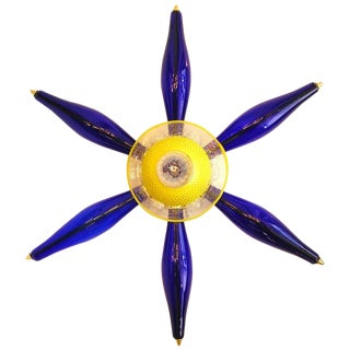 1960 Vintage Italian Unique Star Sconce in Yellow and Blue Murano Glass For Sale