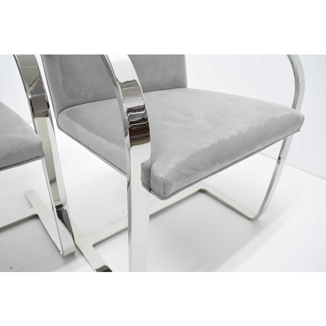 1980s Mies Van Der Rohe Gray Suede Brno Chairs - Set of 4 For Sale - Image 5 of 9