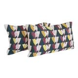 Image of Art Deco West Elm Geometric Beaded Pillow Covers - a Pair For Sale