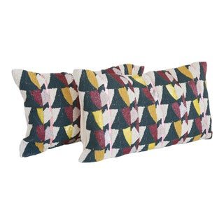Art Deco West Elm Geometric Beaded Pillow Covers - a Pair For Sale