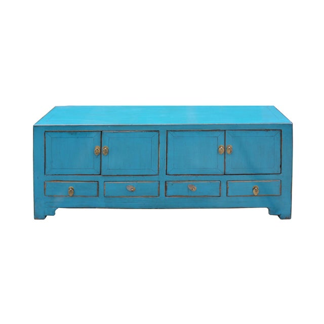 Wood Chinese Distressed Blue Low Tv Console Table Cabinet For Sale - Image 7 of 9