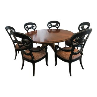 Century Table and Red Leopard Chairs For Sale