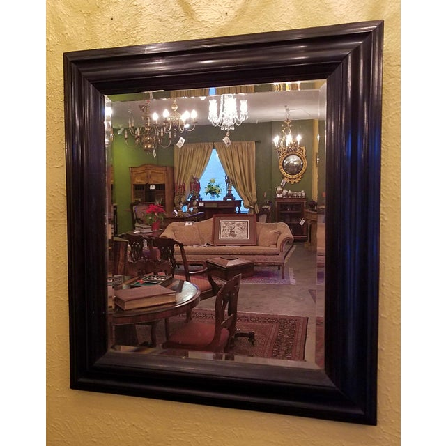 19th Century American Ebony Mirror With Beveled Glass For Sale - Image 4 of 6