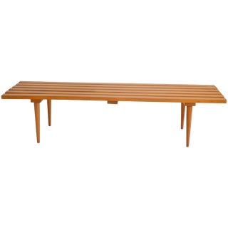 Midcentury Wood Slat Bench For Sale