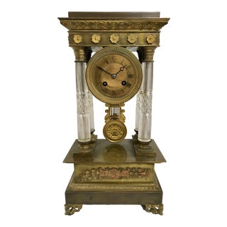 Baccarat and Bronze French Empire Mantle Clock For Sale