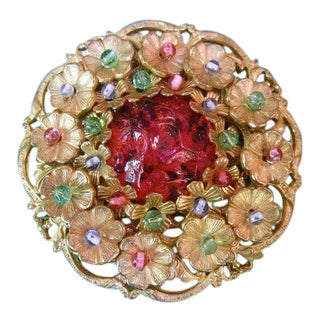 Miriam Haskell Exquisite Poured Glass Large Floral Wreath Brooch C 1950s For Sale