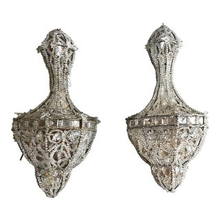 1920s French Glass Beaded Sconces - a Pair For Sale