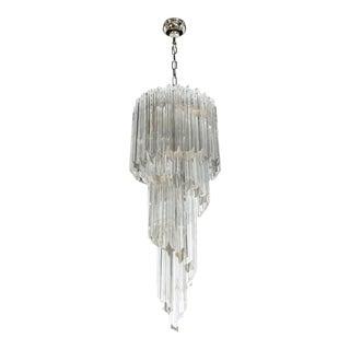 1960's Camer Crystal Spiral Chandelier For Sale