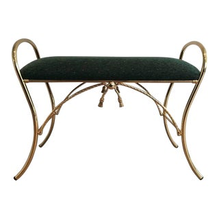 Polished Brass Bench with Roping Detail For Sale