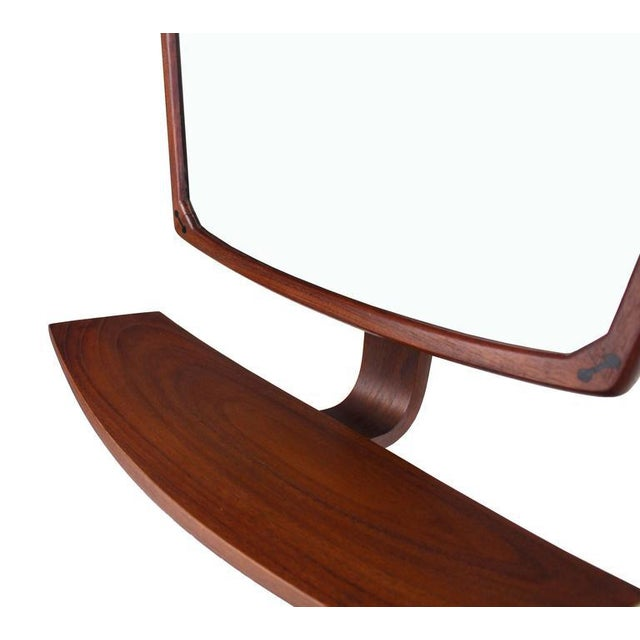 Danish Mid-Century Modern Adjustable Wall Mirror with Shelf For Sale - Image 4 of 9
