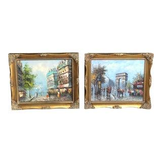 Paris Street Scenes Oil Painting Originals Gold Ornate Frames - a Set of 2 For Sale