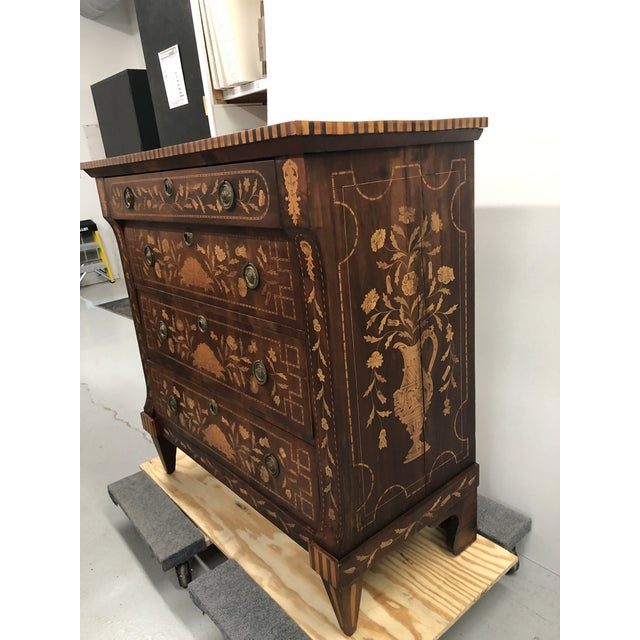 Renaissance Early 19th Century Dutch Hardwood Inlaid Four Drawer Chest For Sale - Image 3 of 13