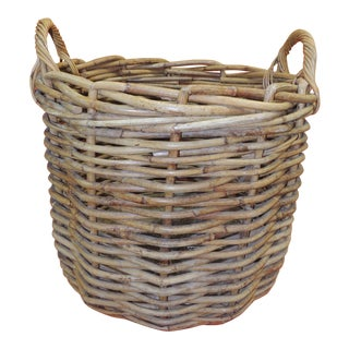 Vintage Monumental Round Willow Planter/Basket With Handles For Sale