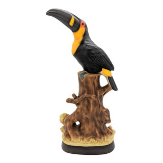 20th Century Hollywood Regency Black and Orange Ceramic Toucan For Sale