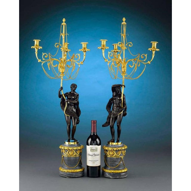 Bronze 18th Century Russian Figural Bronze Candelabra - A Pair For Sale - Image 7 of 8