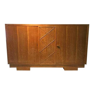 Unusual Sideboard or Cabinet in Cerused Oak Attributed to Jacques Adnet For Sale