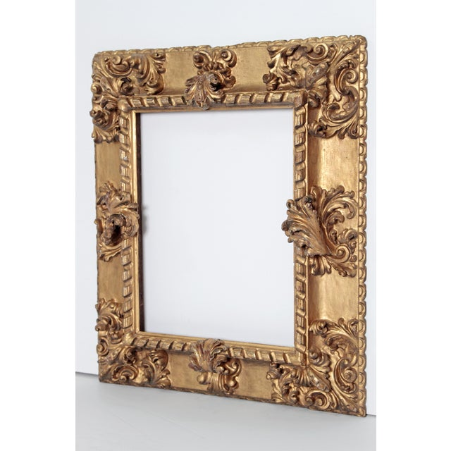 rare Baroque period / 17th century Italian picture frame, elaborately carved and gilded, incredible relief opening...