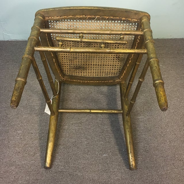 19th Century Giltwood Faux Bamboo Chair For Sale In West Palm - Image 6 of 7