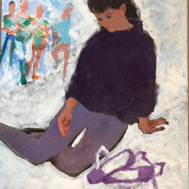Vintage Original Modernist Dancer Painting For Sale - Image 4 of 7