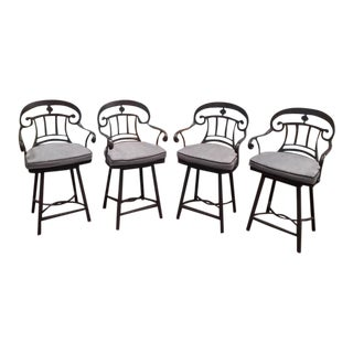 Frontgate High Backed Aluminum Swivel Cushioned Bar Stools- Set of 4 For Sale