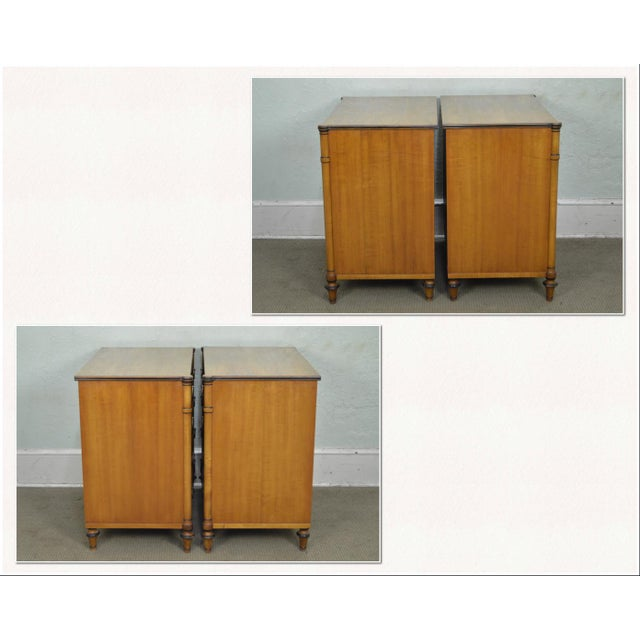 Hollywood Regency Kittinger Regency Style Pair of Satin Wood Chests of Drawers For Sale - Image 3 of 13