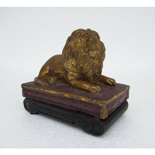 Wood C.1980s Gilt Carved Lion Accent Piece / Paperweight on Attached Pedestal Scroll Base For Sale - Image 7 of 13