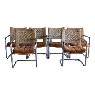 Mid Century Modern Chromcraft Woven Rush Rattan & Chrome Dining Chairs- Set of 6 For Sale
