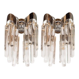 Mid-Century Modernist Chrome Sconces with Angular Crystal Pendants by Lobmeyr For Sale