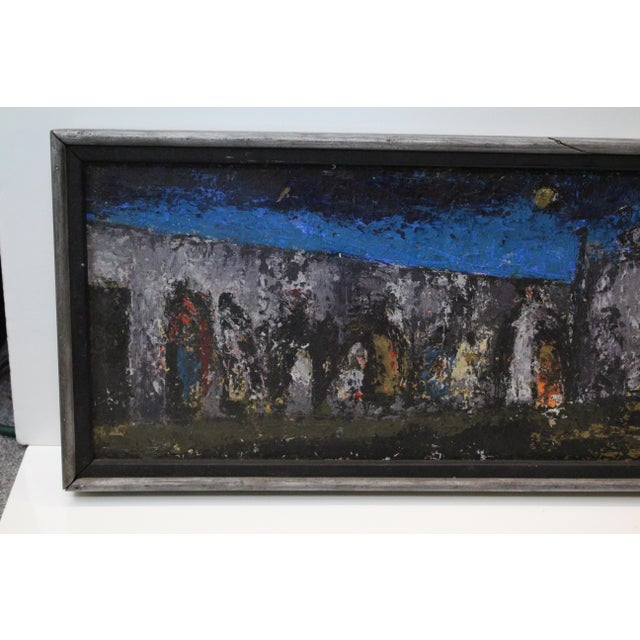 Mid 20th Century Vintage Mid-Century Kenneth Forman Village at Evening Painting For Sale - Image 5 of 8