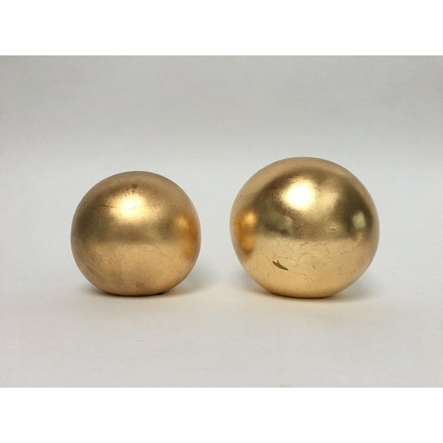 Contemporary Jaru Gold Leaf Ceramic Orb Sphere Sculptures - a Pair For Sale - Image 3 of 6