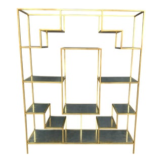 Century Contemporary Etagere With Eglomise Mirrored Shelves For Sale