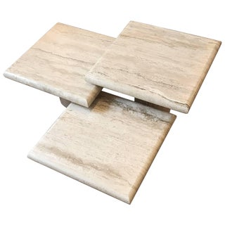 Set of Three Italian Square Travertine Coffee Table For Sale