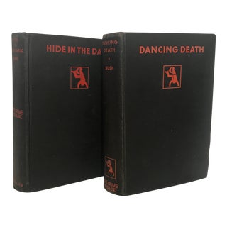1920's Art Deco Black & Red Mystery Books - a Pair For Sale