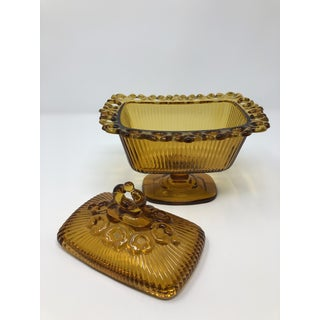 Vintage Amber Pedestal Dish With Lid Preview