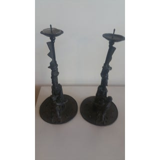 Vintage Japanese Bronze Candlesticks 2 Shishi Boys Climbing Tower - a Pair Preview