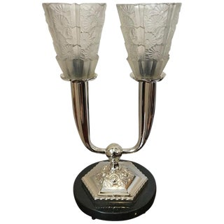 French Art Deco Floral Table Lamp For Sale