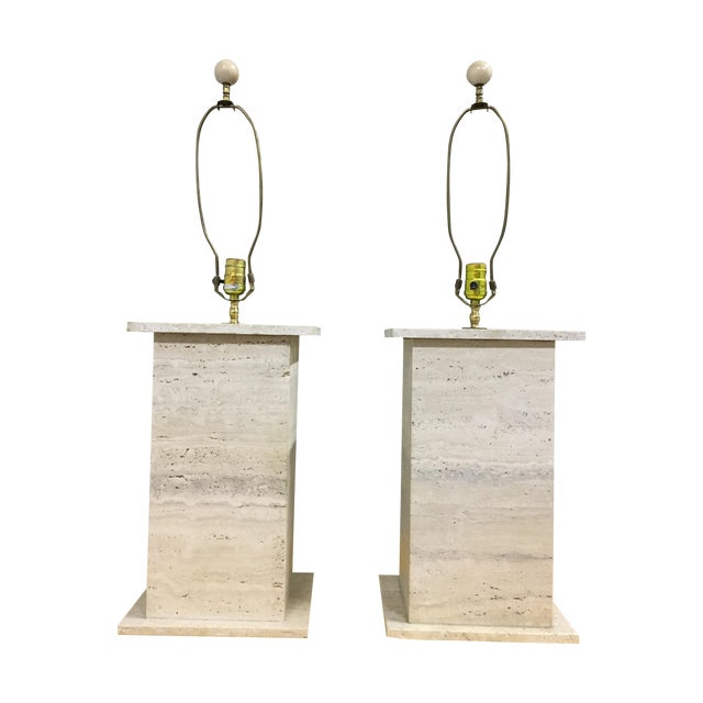 Modernist Travertine Square Table Lamps - Pair - Image 1 of 7