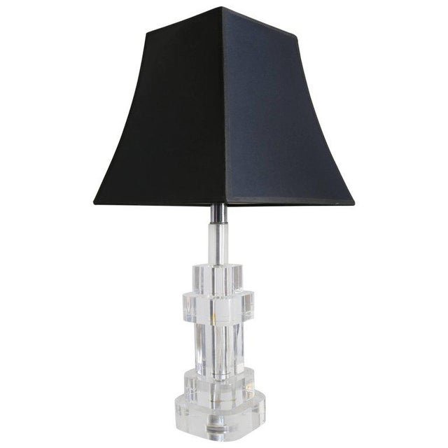 1970s Clear Lucite Table Lamp Attributed to Karl Springer For Sale - Image 5 of 5