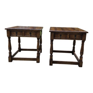 Traditional Stickley Solid Oak End Tables - a Pair For Sale