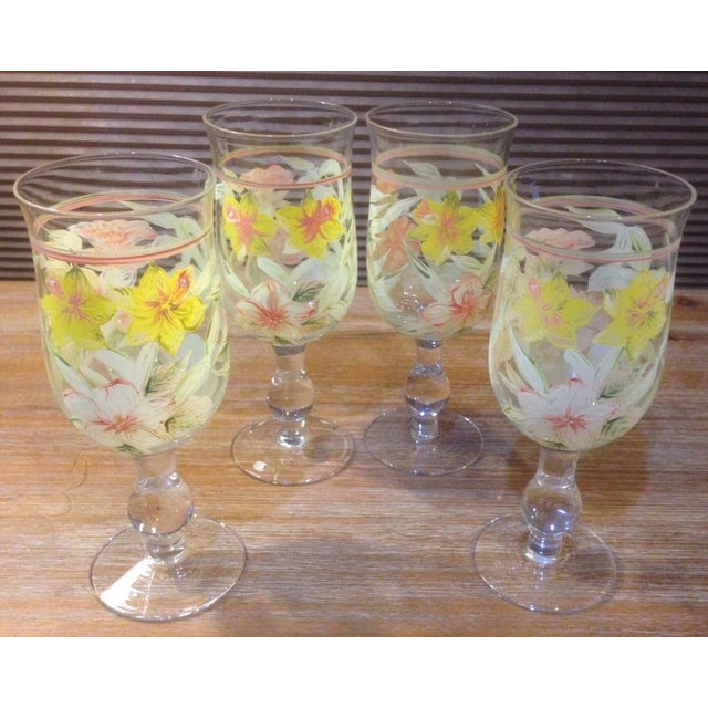 Vintage Hand Painted Yellow and Pink Flowers Crystal Goblet Glasses - Set of 4 For Sale - Image 10 of 10