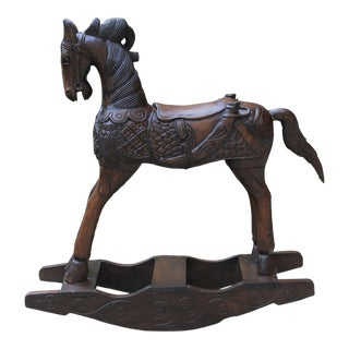 19th Century Antique English Carved Oak Child's Doll's Rocking Horse For Sale