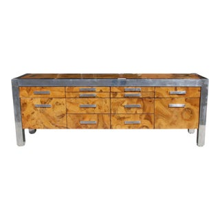 1970s Art Deco Leon Rosen for Pace Collection Burled Wood and Chrome Credenza For Sale