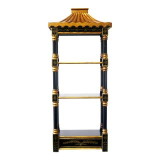 Black Lacquer and Gold Gilt Pagoda Shelf For Sale