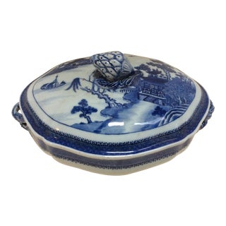 Chinese Style Blue & White Covered Dish For Sale