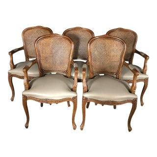 Louis XV French Walnut Chairs With Classic Brass Tacking -Set of 5 For Sale